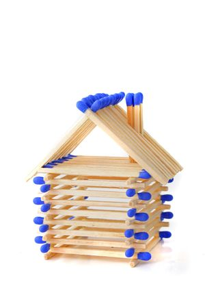 tinkered: A tinkered house out of matchsticks. All isolated on white background.