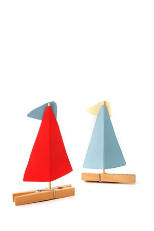 tinkered: Two tinkered boats on a sailing trip. All isolated on white background.
