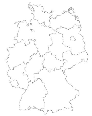 regions': Stylized map of Germany. Stock Photo