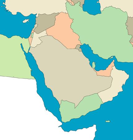 Stylized map of the Middle East.