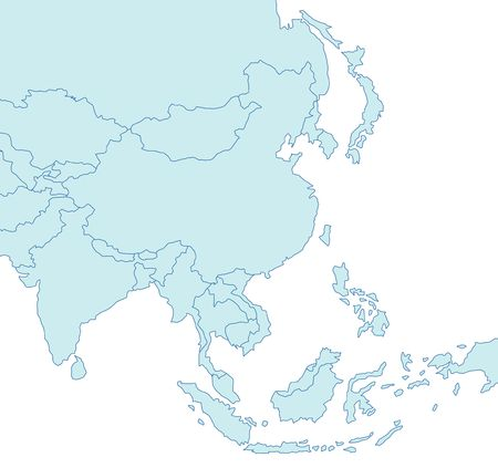 plotting: Stylized map of Asia in blue tone. Stock Photo