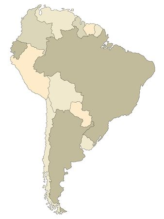 plotting: Stylized map of South America in brown tone.