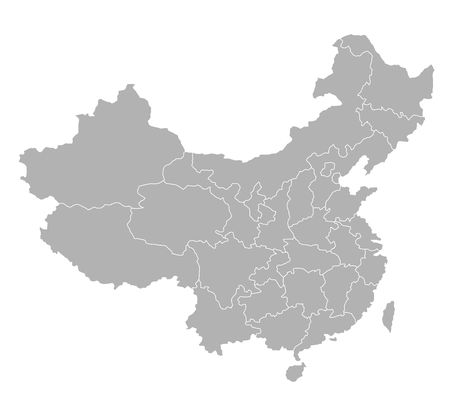 china icon: Stylized map of China in grey tone.