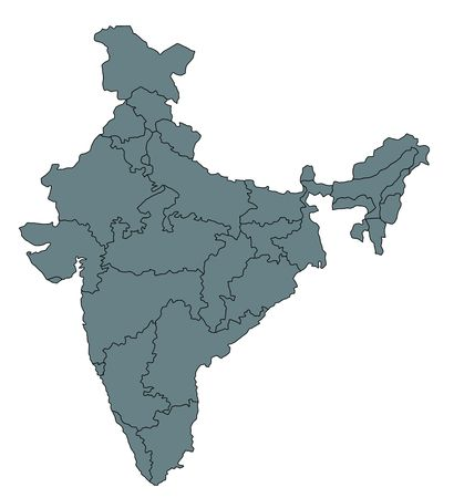 map of india: Stylized map of India in grey tone.