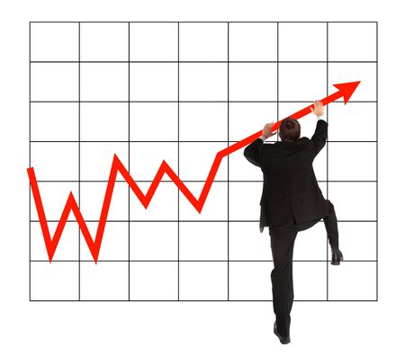 A young businessman climbing up a positive chart. All on white background. photo