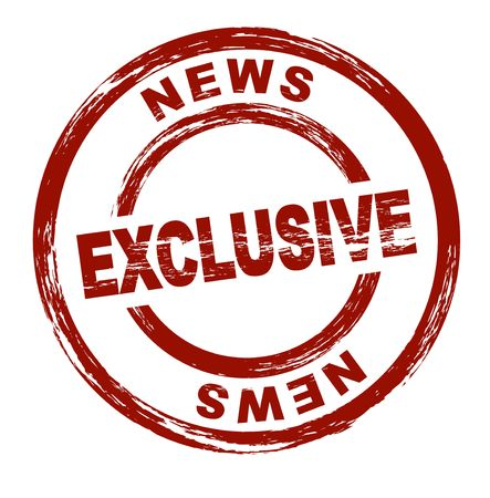 A stylized red stamp that shows the term Exclusive News. All on white background. photo