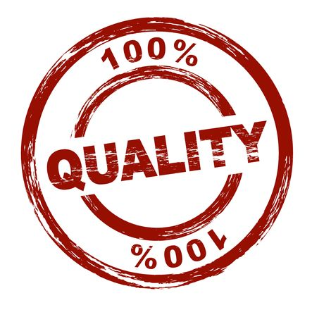 qualitative: A stylized red stamp shows the term 100% quality. All on white background. Stock Photo