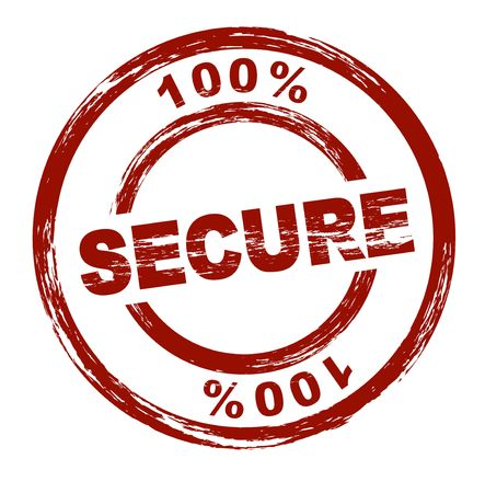 proved: A stylized red stamp shows the term 100% secure. All on white background. Stock Photo