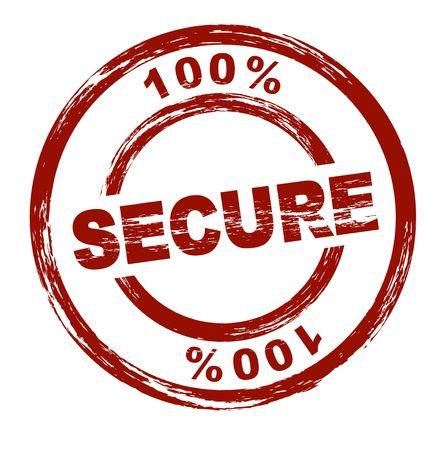 proved: Un timbro rosso stilizzato mostra il termine 100% sicuro. Tutto su sfondo bianco.
