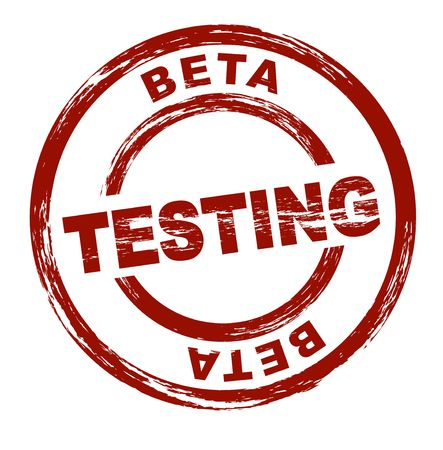 proved: A stylized red stamp that shows the term beta testing. All on white background. Stock Photo