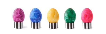 A line of colored easter eggs. All isolated on white background. Stock Photo - 6602999