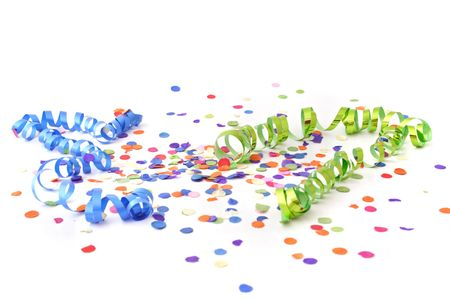 party streamers: A decoration for a typical party atmosphere. All isolated on white background.