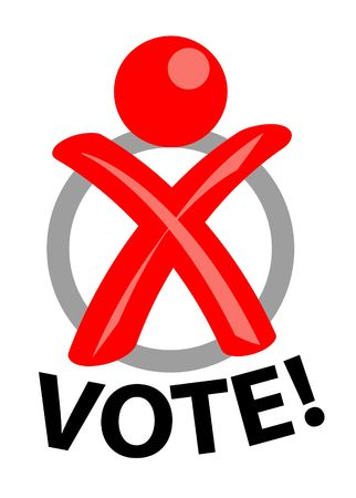 electoral: A stylized person out of a cross like on a ballot. All isolated on white background.