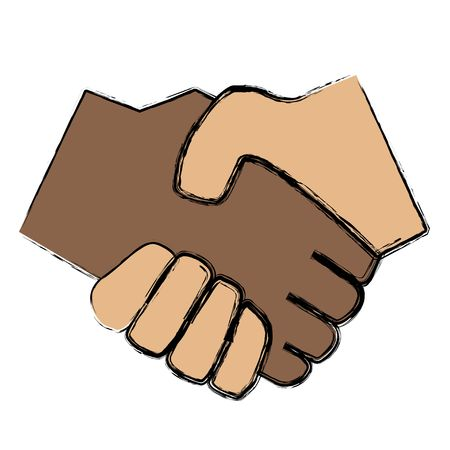 mutual help: An illustrated handshake between a black and a white person. All isolated on white background.