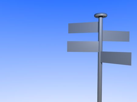 guidepost: A stylized illustrated signpost in front of bright blue sky. Stock Photo