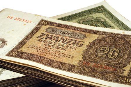 valuta: A twenty Deutsche Mark banknote. Stock Photo