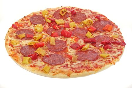 A typical pizza. All isolated on white background. photo