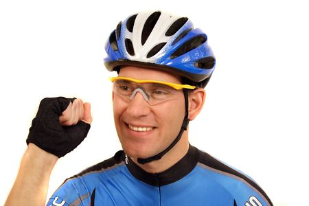 jubilation: A professional bike rider jubilation. All isolated on white background.