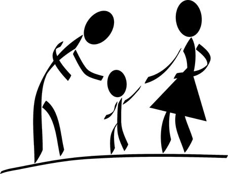 tiddler: A stylized family. All isolated on white background.