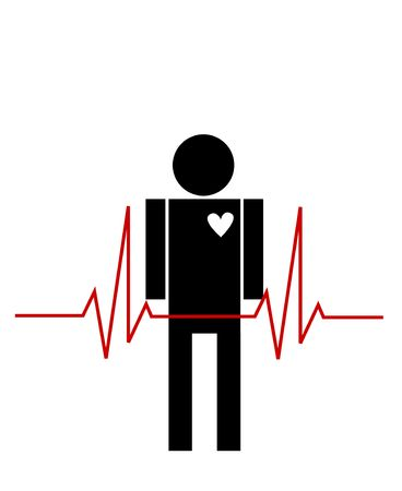 bodycheck: A stylized person with an illustrated heartbeat. All isolated on white background.