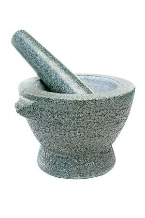 steely: A mortar like it`s used in kitchen.