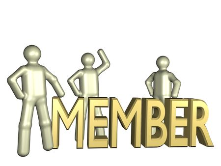 newsgroup: Several stylized persons standing beside the lettering newcomer. All isolated on white background. Stock Photo
