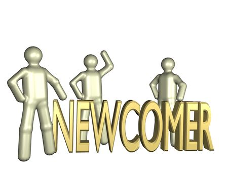newcomer: Several stylized persons standing beside the lettering newcomer. All isolated on white background. Stock Photo