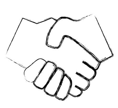 manos logo: Dos estilizado armas agitando las manos. Todos aislados sobre fondo blanco. Foto de archivo