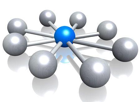 the origin: A 3d illustration symbolizing centralization. All on white background.