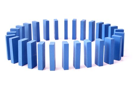 interdependence: A circle of blue dominoes. All isolated on white background.