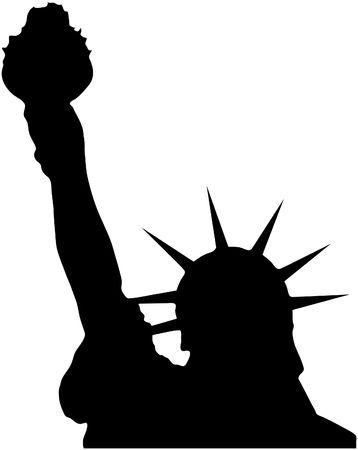 big apple: Silhouette of the statue of liberty infront of a white background.