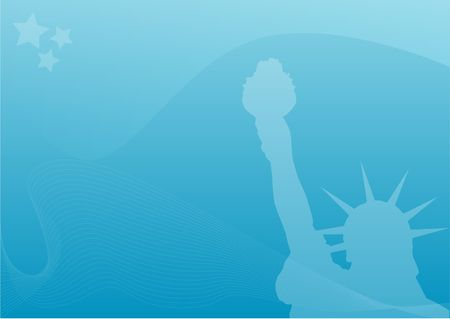 megacity: Silhouette of the statue of liberty infront of a light blue background.