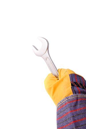 glitch: Una mano nella sfida in possesso di una chiave. Tutti gli isolati su sfondo bianco. Archivio Fotografico