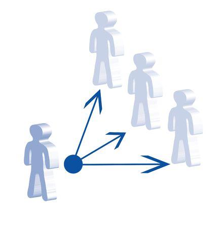 acoso laboral: Una ilustraci�n simb�lica de delegar. Todos aislados sobre fondo blanco. Foto de archivo