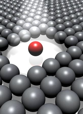 assimilate: A single highighted red ball among a crowd of grey balls. Stock Photo