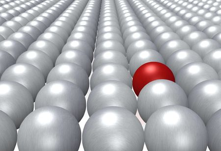 assimilate: A single red ball fully integrated in a crowd of grey balls. Stock Photo