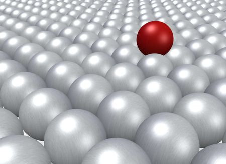 assimilate: A single red ball lying on a crowd of grey balls. Stock Photo
