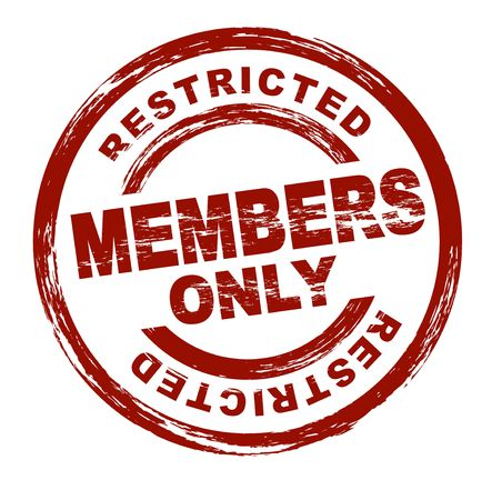 restrict: A stylized red stamp symbolizing a restricted member area. All on white background. Stock Photo