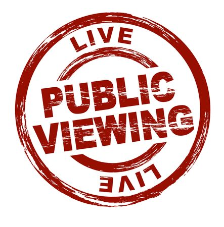 A stylized red stamp symbolizing public viewing. All on white background. Stock Photo - 6767137