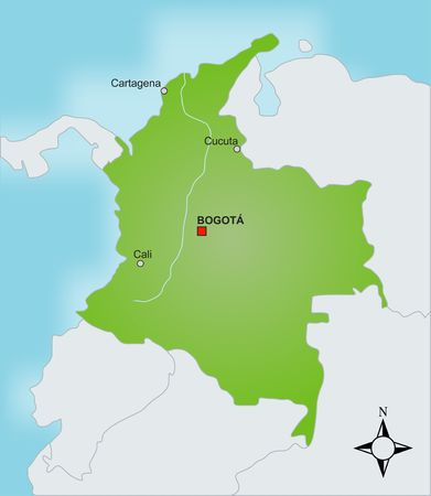 plotting: A stylized map of Colombia showing different cities and nearby countries.