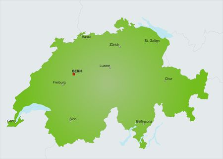 plotting: A stylized map of Switzerland showing different cities and nearby countries. Stock Photo