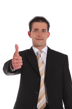 An attractive businessman making a positive gesture. All on white background. Stock Photo - 6813420