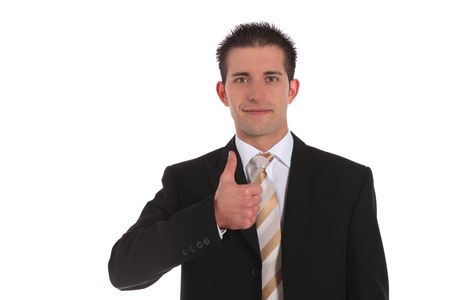 A handsome businessman making a positive gesture. All on white background. Stock Photo - 6813390