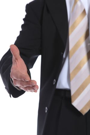 A businessman reaches out to somebody. All on white background. photo