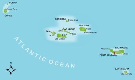 Eine stilisierte Karte von den Azoren, den verschiedenen Inseln und mehreren Städten.
