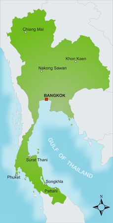 A stylized map of Thailand showing different cities and nearby countries.