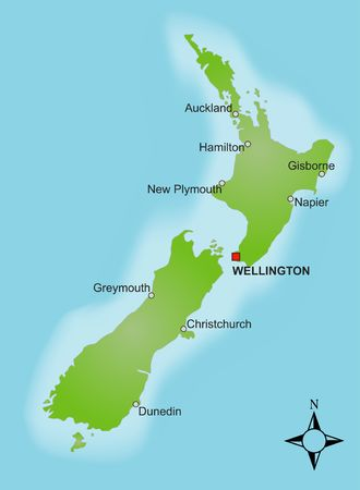 wellington: A stylized map of New Zealand showing different cities.