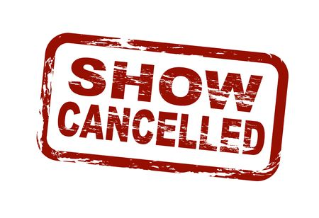 term: A stylized red stamp showing the term show cancelled. All on white background.