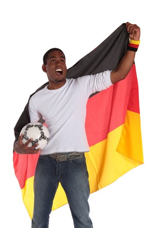 supporter: A german soccer supporter cheering. All on white background.