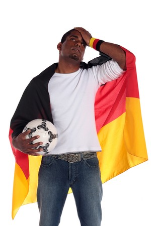 A frustrated german soccer supporter. All on white background. photo